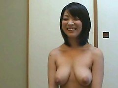 Subtitled nudist Japanese housewife vacuums apartment