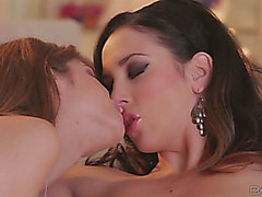 Buxom zealous girlie Jelena Jensen has a rock hard want to please breathtaking honey