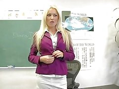 Sexy blonde teacher in small purple thongs