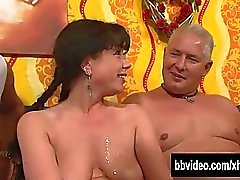 Pigtailed german milf gets double fucked