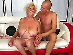 Hot Busty Curvy Grannt Banged On Couch