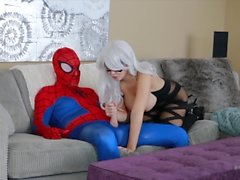 Black Cat Bryci Sucks and Fucks Spidey Cosplay