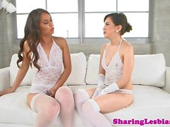 Classy lingeried lesbian babes toying pussy
