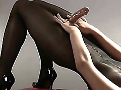 Hot girl in pantyhose masturbating