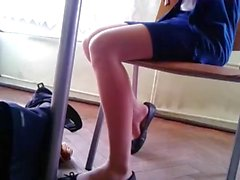 Candid Stunning Shoeplay by Teen in Nylons pt 1