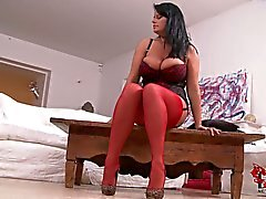 Well endowed Rebecca Jessop in red stockings