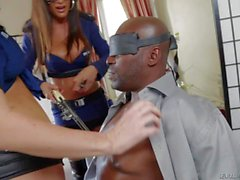 Sexy police babes with guns Lisa Ann and Jayden James