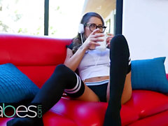 Babes - Hipster teen Madison Ivy wakes up with a bowl of joe and a lovely salami