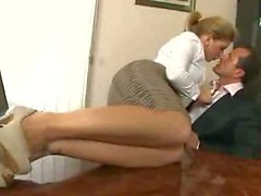 Blonde secretary gets fucked her boss