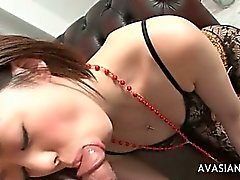 Horny Japanese With Sexy Lingerie Deepthroat Expert