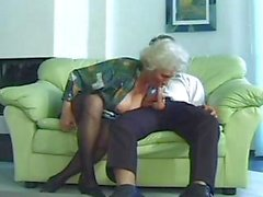 Horny MILF granny Norma with droopy boobs gets humped by a younger man