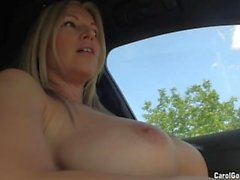 Busty whore drives around