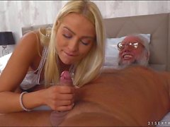 Chary Kiss fingers grandpa while jerking