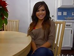 Cute asian teen masturbates with dildo in the kitchen