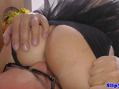 Seductive UK beauty sixtynines old man