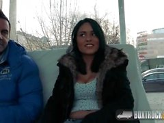 Hot Brunette fucked in a parking lot in the back of the magic truck