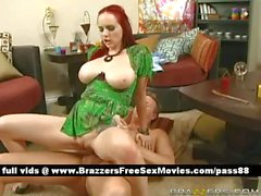 Busty redhead girl on the couch gets her pussy licked
