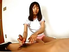 Petite chick from mongolia gives handjob