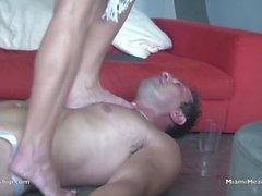 Dannii Harwood uses slave as foot stool