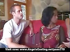 Innocent afro bride in threesome does blowjob for two horny guys