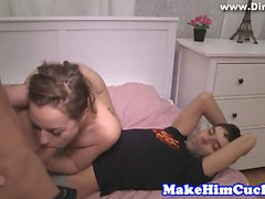 Cuckolding eurobabe banged in front of bf