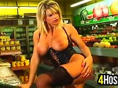 Busty Blonde Whore At A Supermarket