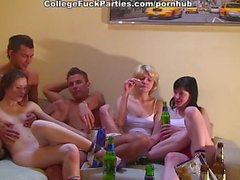 Nasty college girls go canned and plunge into group orgy