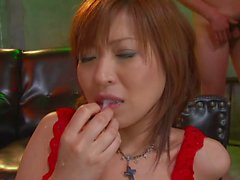 Asian babe in red stockings gets gangbanged