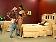 Ebony in pantyhose with a nice ass eats cock and gets nailed