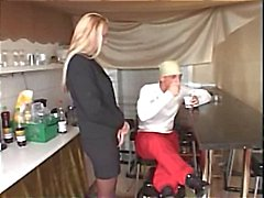 Hot mature blonde gets hammered hard in the tiny kitchen gets cum on tits