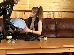 Sub licking leather boot and eats spit