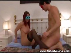 Busty Italian wife Pamela wears a mask and eats cock and gets drilled
