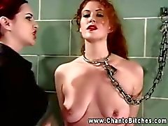 LEZDOM bitch nipple clamping wall bound slave