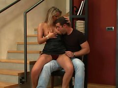 Desirable blonde fucked by the staircase