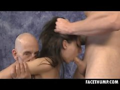 Brunette Harley Rose Getting Her Dumb Face Fucked Raw