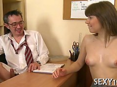 Old teacher is delighting sweet darling's taut playgirl pot