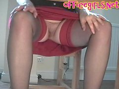 Under Desk Cam Of Secretary In Stockings