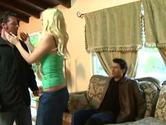 Amazing blonde in stockings gets shafted