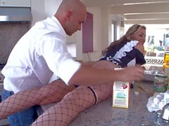 Horny maid Delilah Strong having funs in the kitchen