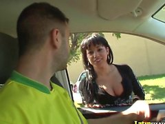 LatinFixation Busty Abella Anderson rides cock after being picked up off the street