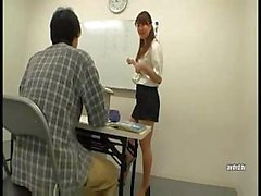 Japanese teacher gives on of her students her mouth and pussy