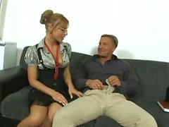 Waiting Guest Entertained by Sexy Secretary