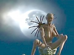 Foxy 3D cartoon alien babe riding a cock outdoors