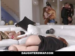 DaughterSwap - Sexy Teen Daughters Fucked Next To Passed Out Mothers