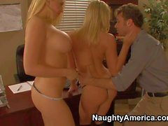 Office affair with Big titted blondes Kagney Linn Karter and Shawna Lenee
