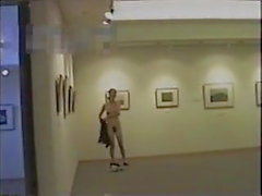 Mature woman exposing nude at museum M
