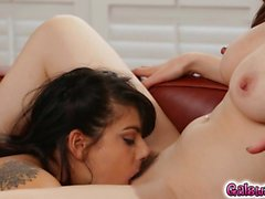Gina begins to suck on Jelena Jensen's hard nipples