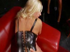 Busty blonde Michelle has her friends watch as she gets fucked