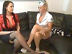 Sexy Nurse And Her Friend Give Footjobs