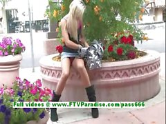 Sophia superb blonde babe public flashing tits